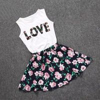 Wholesale pretty clothing resale online - charm Baby Girls Clothes LOVE Tops Flower skirt Pretty Flowered Cotton Kids Sets Summer Children Girl Clothing Set