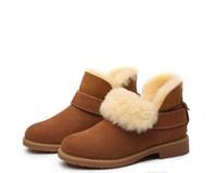 mulher cabra venda por atacado-2019 venda Quente design Clássico Top Real Austrália pele de cabra pele de carneiro botas de neve Martin botas curtas mulheres botas manter sapatos quentes Frete grátis
