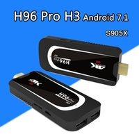 Wholesale Hdmi Mini Pc Stick - H96 Pro H3 Mini PC Amlogic S905X Quad Core Android 7.1 TV Dongle 2GB 16GB 2.4G 5.G WiFi Bluetooth HDMI HEVC H.265 1080P 4K HD TV Stick Box
