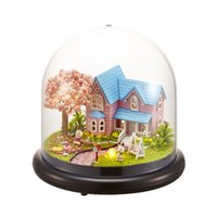 Wholesale 12 hose online - Dollhouse Miniature Cherry House DIY Kit With Cover And LED Doll Hose Toys Best Gift For Children Operational Ability