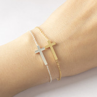 Wholesale trendy womens bracelets - Jesus Christian Womens Mens Horizontal Sideways Cross Bracelets Silver Religious Trendy Stainless Steel Chain Bracelet Lucky