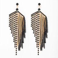 Wholesale large flowers for wedding - New design Large Black Tassel Earrings For Women Fashion Rhinestone Drop Earrings Wedding jewelry Gifts E054