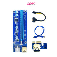 Wholesale pci sata usb card - 009S Risers PCIe PCI-E PCI Express Riser Card 1X to16x USB 3.0 Data Cable 6 Pin SATA Power Supply for BTC Miner with 2 LED