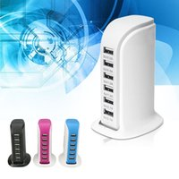 Wholesale usb wall charger multi online - 6 USB Ports Multi Charging Port Desktop MultiFunction Wall Fast Charger Station AC Power Adaptor with Retail Box
