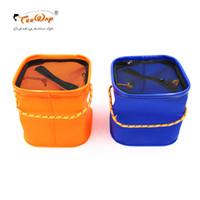 тросовые шкафы оптовых-Складная EVA воды ведро с веревкой пояса открытый рыболовные снасти коробка кемпинг раза S сумка для рыбалки