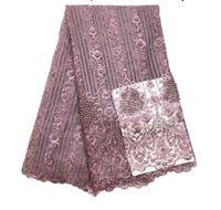 afrikanische kleidungsstoffe großhandel-8 Farben Nähen Spitze Stoff Frauen Mode Kleidung Mädchen Net Mesh Kleid Designs Tüll Stoff Kleider Afrikanische Spitze Stoff Kleidung