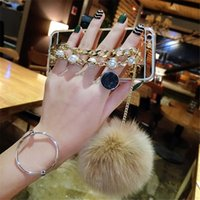 Wholesale Iphone 5s Mirror Case - Luxury Fur Ball Back Case Pur Ball Chain Tassel Cases Pearl Bracelet Phone case Mirror shell For iPhone X 8 7 6 6s Plus 5 5s