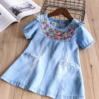 Wholesale Baby Holiday Dresses - Everweekend Girls Floral Embroidered Ruffles Denim Dress Cute Baby Fly Sleeve Clothes Princess Spring Summer Holiday Clothing