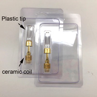 Wholesale empty blister packaging resale online - OEM logo for ml Glass Vaporizer empty vape pen cartridges Wax Oil Atomizer CO2 ceramic vape carts Golden with Blister packaging