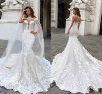 Wholesale dubai wedding dresses for sale - Dubai Arabic Mermaid Wedding Dresses Beading Sleeveless Long Court Train Lace Applique Wedding Dress Bridal Gowns BA9313