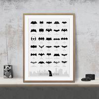 komik sanat batman toptan satış-Evrim 75 Yıl Batman Comic Sanat Poster Duvar Dekoru Resimleri sanat Baskı Ev Dekor Posteri Unframe 16 24 36 47 Inç