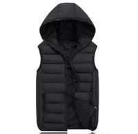 Discount polyester cotton wadding - Fashion Men's Vest Winter Men Hooded Vest Male Fashion Cotton-Padded Waistcoat Jacket and Coat Warm Vest 3XL 2XL