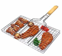 Wholesale Fish Grill - Summer Outdoor Barbecue Tools Grilled Fish Clip Roast Meat Hamburger Net Environment Barbecue with Wood Crank Outdoor Gadgets GGA288