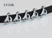 Wholesale boat slides - 10PCs Silver Sailing Boat Slider Charms Beads Fit DIY 8mm Collar Name Belts Tags Wristband Bracelets
