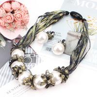 ingrosso grandi orecchini della collana della perla impostati-Big Imitation Pearl Necklace Set For Women Fashion Colorful Ribbon Statement Necklace Orecchini Set di gioielli da sposa
