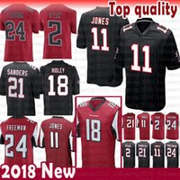 negro camiseta de julio jones al por mayor-nuevos Atlanta Falcons 2 Matt Ryan 11 Julio Jones 18 Ridley Jersey Limited 21 Deion Sanders 24 Devonta Freeman Jerseys hombre Color Rushred negro