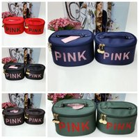Wholesale white makeup storage boxes - PINK Cosmetic bag beautician waterproof makeup box professional ladies make-up bag Portable Storage Bag Travel Pouch Toiletry KKA4296