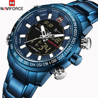 наручные часы оптовых-NAVIFORCE  Mens Quartz Analog Watch Fashion Sport Digital LED Watch Waterproof Male Watches Clock Man Relogio Masculino