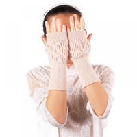 invierno mano femenina guante al por mayor-Mujeres Nuevo Guantes de Punto Guante Feminina Mano Femenina Dedo Sin Dedos Mittens de Punto Brazo Guantes Medio Invierno Muñeca de Ganchillo