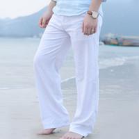 weiße leinenhose großhandel-Herren Sommer Freizeithosen Baumwolle Baumwolle Leinenhose Weiße Leinen Elastische Taille Gerade Hosen