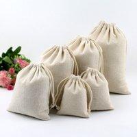 ingrosso borse a mano bianca-Braccialetti per borse da imballaggio con sacchetto di cotone con cordino bianco e cordino