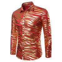 cores de impressão de zebra venda por atacado-Listra de zebra dos homens camisas de manga longa roupas casuais atacado 3 cores impressas camisas outono inverno clube cantor desempenho de palcos fora