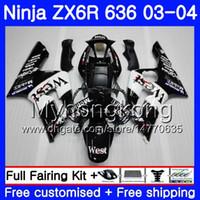 ninja zx6r verkleidungssatz west großhandel-Karosserie für KAWASAKI NINJA ZX-636 ZX600 ZX636 ZX-6R 03 04 211HM.18 Schwarz Westschaft ZX 636 6 R 600CC ZX6R 03 04 ZX 6R 2003 2004 Verkleidungssatz