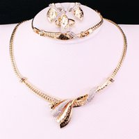 colar de colar de ouro indiano venda por atacado-Indiano Conjuntos de Jóias Declaração Collar Colar De Ouro-cor Bijuterias Imitação de Strass Brincos Para As Mulheres De Noiva