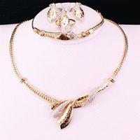 ingrosso collana indiana collare in oro-Insiemi dei monili indiani Collare di dichiarazione Collana oro-colore Costume gioielli imitazione strass Orecchini per le donne da sposa