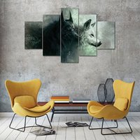art room hd pictures 2018 - Painting Wall Art Modular 5 Panel Black White Wolf Printed Pictures Modern Canvas Living Room Decoration Framework HD Home Poster