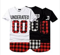 Wholesale red white plaid shirt - Brand Designer-Chao men's personality splicing extended three color OO lattice short sleeved T-shirt night club hip-hop casual men's Korean