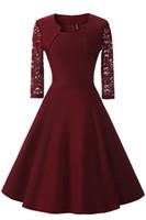 lederkleid handschuhe frauen groihandel-New Autumn Style Lace Mosaics Ein dünnes Kleid mit sieben Ärmeln