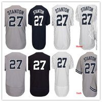 Wholesale Nwt Shorts - NWT Men's Women Youth New York 27 Giancarlo Stanton Baseball Jerseys Shirt 100% Stitched White Blue Grey,Mix Order