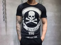 Wholesale Wash Wear - 2018 Summer Mens Casual T-Shirts Rhinestone Skull & Bone Color Brand Clothing Man's Short Sleeve Slim T Shirts Male Wear Tops Tees 12211