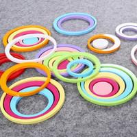 etiquetas redondas do círculo venda por atacado-Círculos De Madeira Rodada Adesivo 3D DIY Adesivos de Parede Estéreo Multi Cores Eco Friendly Paster Nova Chegada 3 6yj BB