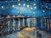 imagens estrelas venda por atacado-Obras de Van Gogh álbum Estrela Lua Noite HD Canvas Impresso Moderna Abstrata Arte Da Parede Pintura Parede Pictures Para Sala de estar Decoração de Casa