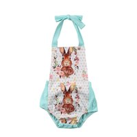 Wholesale boutique easter clothing online - 2018 Easter Newborn Baby Clothes Girls Sleeveless Halter Romper Rabbits Printing Jumpsuit Outfits Baby Boutique Clothing Infant Kids Clothes