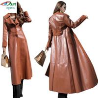 abrigo de moda al por mayor-Chaquetas de mujer de cuero largo invierno nuevo delgado Mostrar cuero de solapa de moda delgado Abrigos básicos de mujer abrigo de pelo de cordero AS721