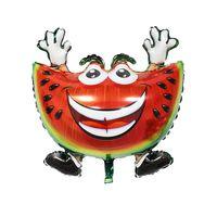 ingrosso foto dell'anguria-Nuovo arrivo baby flag love kiss me foto stampa emoji fruit watermelon grande foglio di alluminio aerostato di elio per i bambini