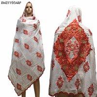 lenço de algodão preto para mulher venda por atacado-Mulheres africanas Cachecol mulheres muçulmanas bordado grande projeto do lenço de ALGODÃO no preto nscarf para xales wraps BM636