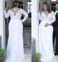 Wholesale white sheer women - Sexy Lace Plus Size Wedding Dresses 2018 Deep V Neck Sheath Long Sleeves Bridal Gowns Sweep Train Women Wear
