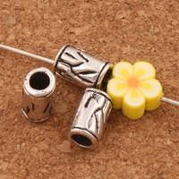 Wholesale orchid jewelry wholesale - 300pcs lot Orchid Curved Bail Style Tube Beads Spacers 8.7x5.3mm Antique Silver Spacers Jewelry Findings L519