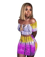 ingrosso modelli di tinture di cravatta-Casual Women Two Piece Set Lace Top Crop Top e gonna Set Tie Dye Pattern T Shirt stampate Tuta casual Outfit 2 pezzi