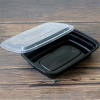 pegar caixas venda por atacado-Preto Retângulo Descartável Almoço Caixa De Jantar Fast Food Take Out Container Caixas De Embalagem de Alimentos Suprimentos de Cozinha Por Atacado 85hy gg