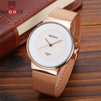 Wholesale watches for old men resale online - BADACE Luxury old Watches Mens Quartz Watch Business Hour for Men Stainless Steel Straps Ultra Thin Wrist Watches