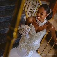 tops de cuentas de oro al por mayor-Gorgeous 2018 cuello alto Rhinestones de oro con cuentas vestidos de novia sirena Tulle Court tren África Top boda vestido de novia por encargo