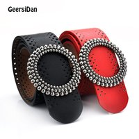 Wholesale Matches Leather Jackets - GEERSIDAN Fashion Women Belt Vintage Wide leather Waist Belts for Women black Waistband Hollow All-Match dress and Down jacket