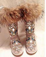 botas de invierno antideslizantes al por mayor-Bling Bling Crystal Embellished Winter Snow Boots punta redonda Slip-on Mujeres Botas a media pierna Fox Hair Flat Shoes Mujeres Envío gratis