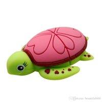 32gb usb bellek sopa sürücüsü toptan satış-Marka Gerçek Kapasite USB Flash Sürücü karikatür Kaplumbağa Kaplumbağa memory stick Deniz kaplumbağası kalem sürücü 32 gb ~ 128 gb
