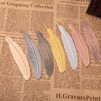 marca livros venda por atacado-7 cores do metal Pena Bookmark Documento Marca de livro de etiqueta suprimentos de Ouro Prata Rosa de Ouro Bookmark secretaria da escola